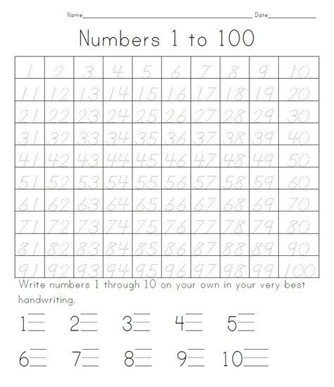 Printable Numbers 1 100