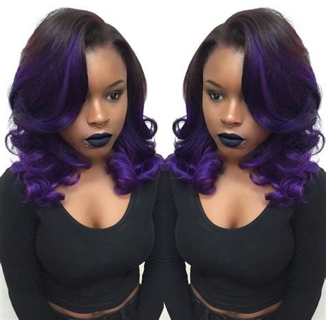purple weave hairstyles love this purple ombre by hairbylatise http community