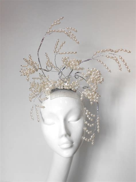 beaded headdress beaded and pearl wired headdress races hats wedding hat
