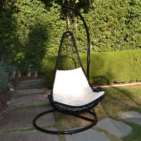 Black khaki egg shape wicker rattan swing lounge chair hanging hammock