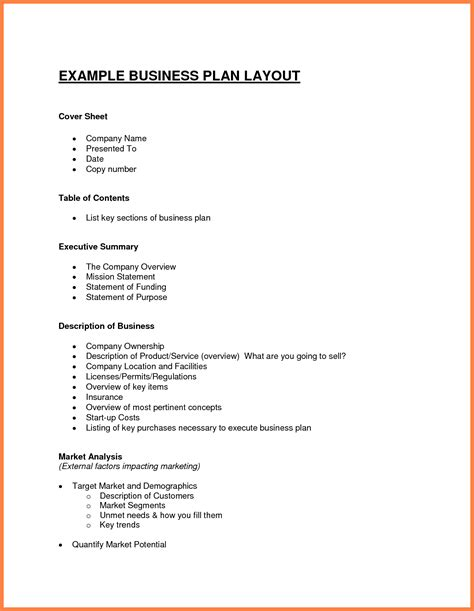 12 Exles Business Plan Outline Bussines Proposal 2017 Business Outline Template