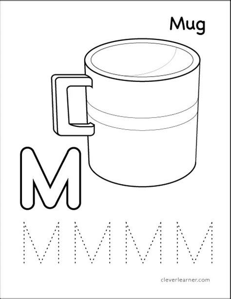 themes m com letter m writing and coloring sheet