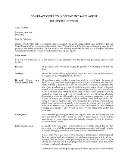 Contract Offer Letter Usa Contract Offer Letter To Independent Sales Forms And Business Templates