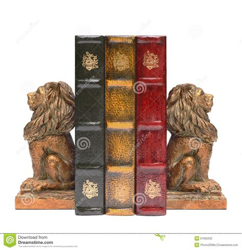 Home Decor Home Based Business lion bookends and antique old books stock photo image
