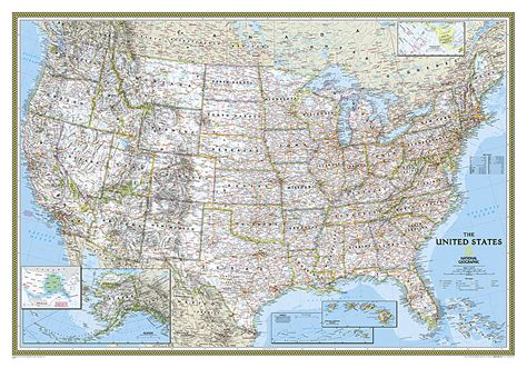 the way laminated national geographic reference map books united states classic laminated