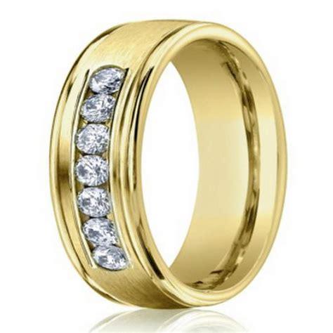 mm mens diamond wedding ring   yellow gold