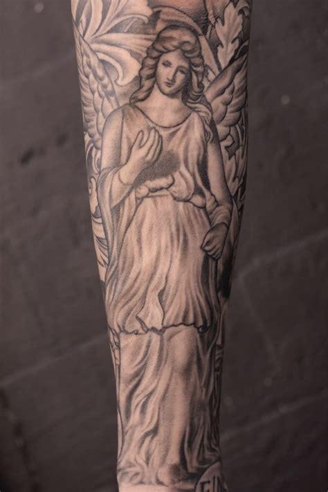 tattoo angel statue black and grey angel statue tattoo by justin jakus yelp