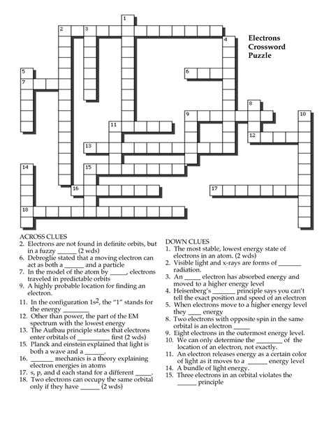 Periodic Table Crossword Answers by Atom And Periodic Table Crossword Answers Periodic Tables