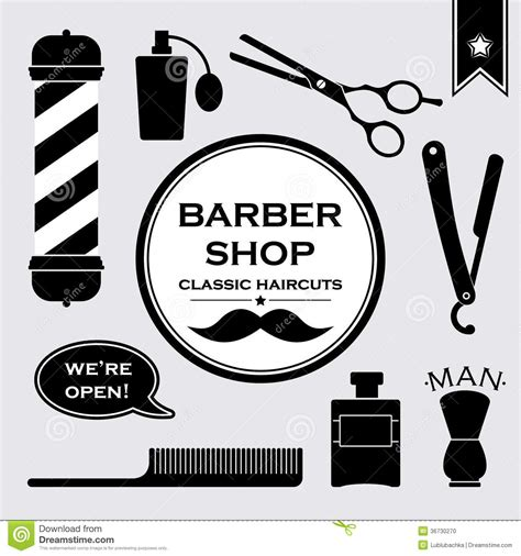 barber shop vector price list template haircut and shave retro barber barbershop vintage symbols in set stock photo image