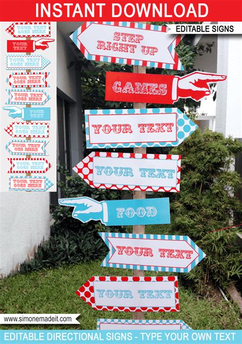 Circus Directional Signs Arrows Carnival Or Circus Party Direction Signs Template