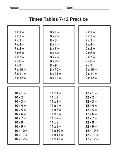 times tables 7 12 practice whole website has free