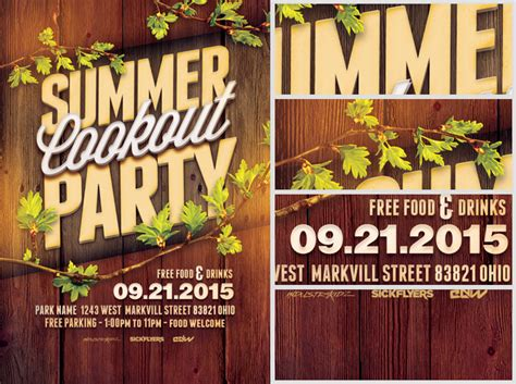 summer cookout party flyer template flyerheroes