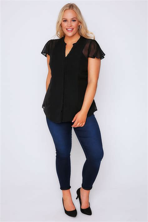 Black Sheer Blouse by Black Pintuck Front Sheer Sleeve Blouse Plus Size 16