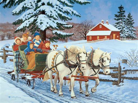Woods Vintage Home Interiors family sleigh ride john sloane art