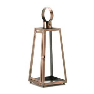 Candle Lanterns Contemporary Copper Metal Clear Glass Hanging Candle Lantern