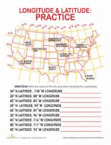 printable us map with latitude and longitude and cities latitude and longitude of cities worksheet education