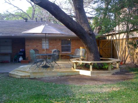 small backyard decks small backyard deck under the big tree with round table