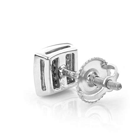 Square Earrings square pave stud earrings sterling silver 0 19ct