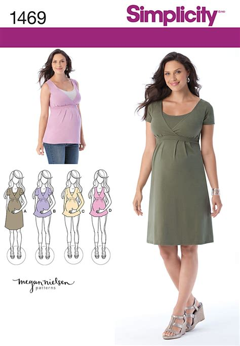 pattern pregnancy clothes simplicity 1469 maternity and nursing knit top or dress