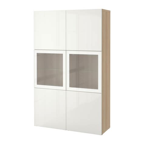 besta storage combination best 197 storage combination w glass doors white stained