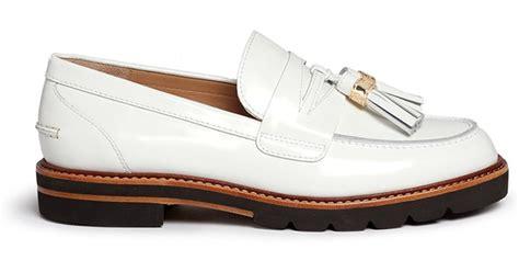 white tassel loafers stuart weitzman manila tassel tie spazzolato leather