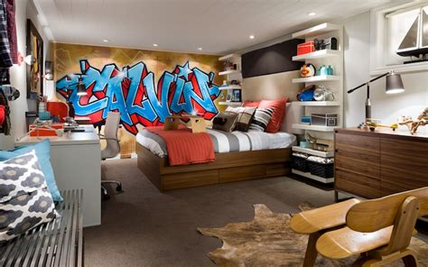 boys room interesting use of one big upholstered graffiti accent wall contemporary boy s room candice