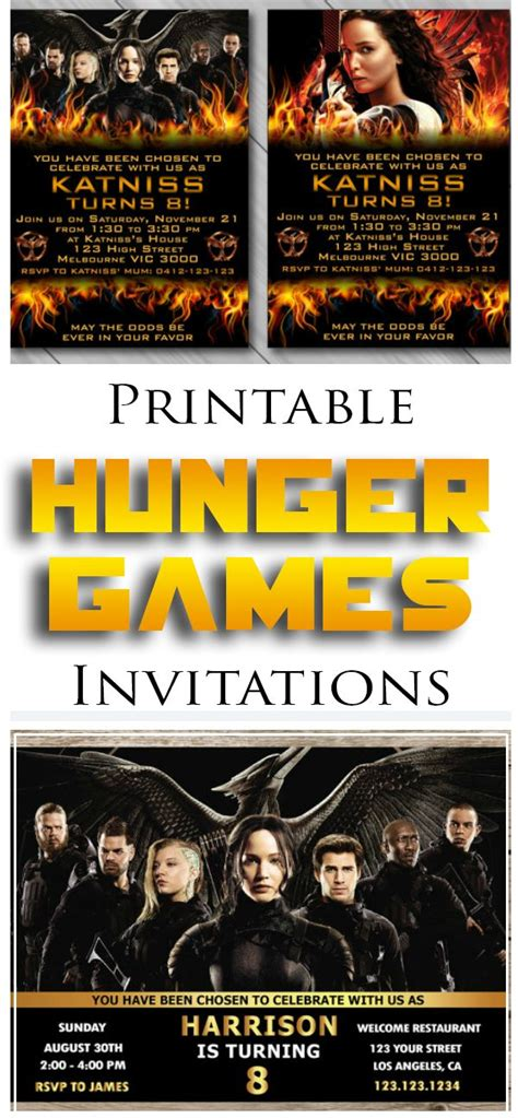 printable hunger games birthday invitations diy personalized printable hunger games invitations for a