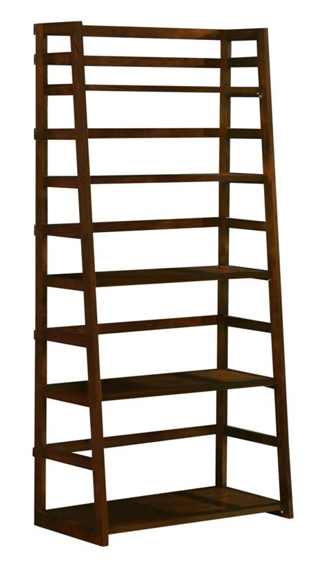 solid wooden 5 tier bookshelf ladder shelf bookcase rich