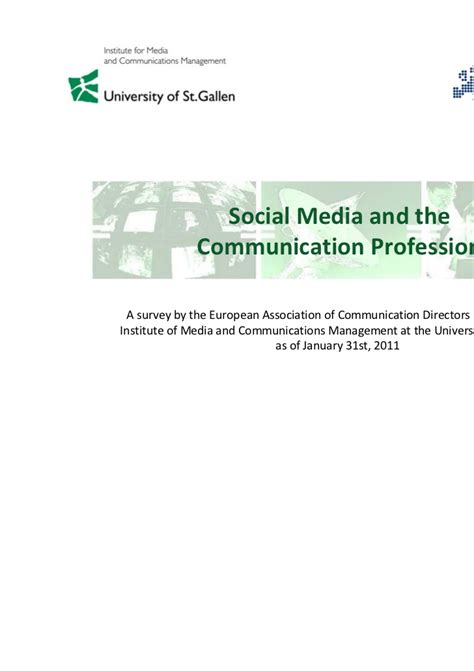 After Mba In Media And Communication by Social Media And The Communication Profession Eacd En Univ