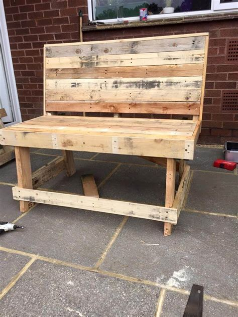 diy pallet outdoor rustic bench pallet furniture diy outdoor pallet bench tutorial