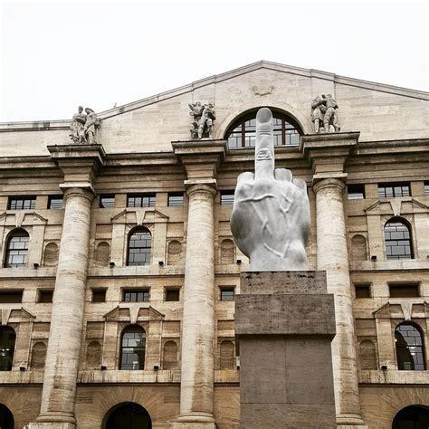 piazza affari milan italy love marble statue