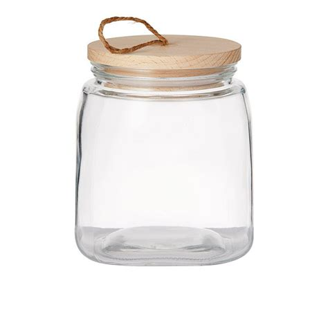 pantry square glass canister  wooden lid  fast