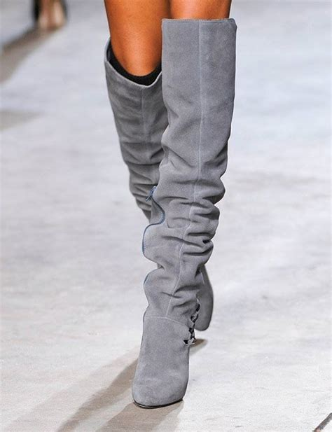 grey suede knee high boots my fashion style pinboard