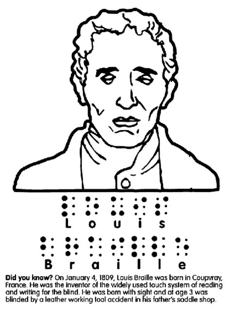 coloring pages for visually impaired louis braille coloring page crayola