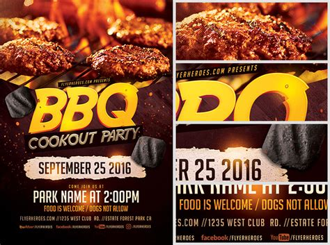 Cookout Flyer Template bbq cookout flyer template flyerheroes