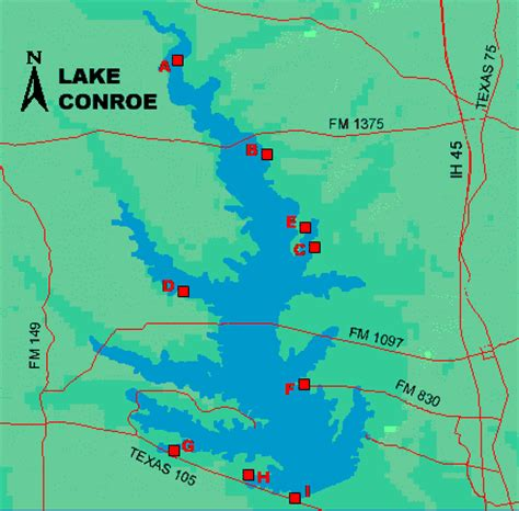 texas lake maps lake conroe access