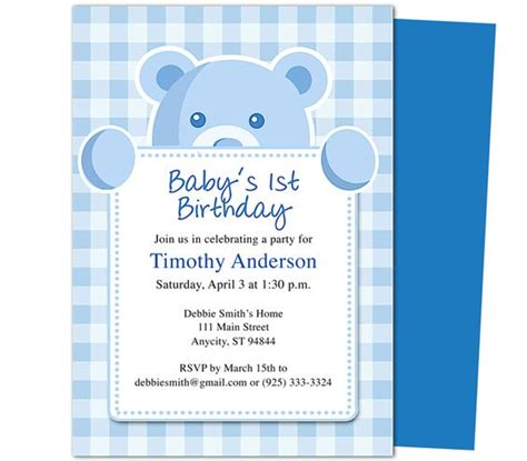 free templates for invitations mac beary cute 1st birthday invitations template templates