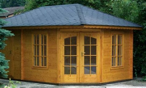 Corner Summerhouse With Shed by Metal Garden Shed Signs Corner Summerhouse With Shed