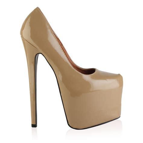 high heels stiletto 7 inch new womens beige patent platform stiletto 7 inch
