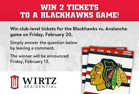 Chicago Blackhawks Giveaway Schedule - win 2 tickets to the chicago blackhawks game on february 20 wirtz residential
