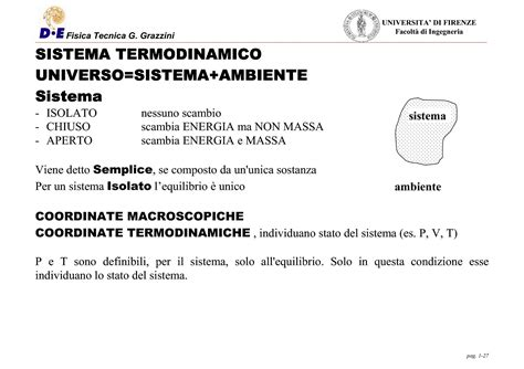 dispense termodinamica termodinamica primo e secondo principio dispense