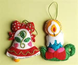 Vintage christmas ornaments felt sequins bell candle via etsy