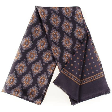 black co uk brianza italian silk scarf in blue for lyst