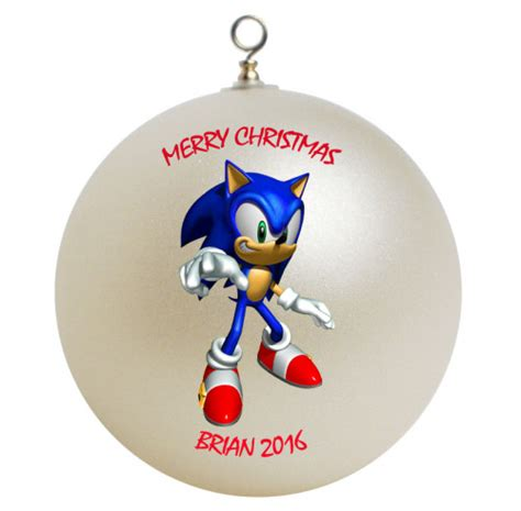 sonic hedgehog personalized custom christmas ornament