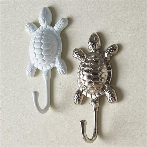 White and Silver Turtle Towel Hooks
