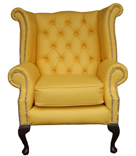 chesterfield wing armchair chesterfield chair queen anne high back wing armchair yellow leather ebay