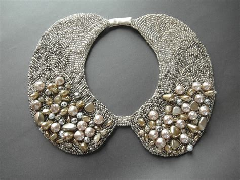 Handmade Collar Necklace - handmade wedding pearl collar necklace vintage style