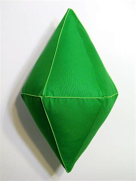 plumbob pillow the sims inspired emerald green plush