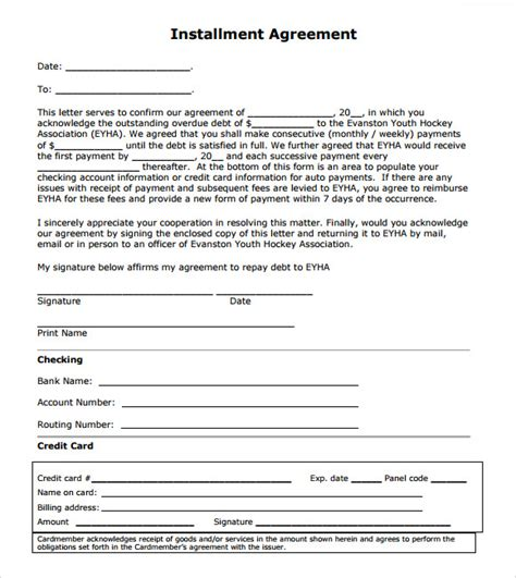 Installment Payment Agreement Letter Sle Installment Agreement 7 Free Sles Exles Format