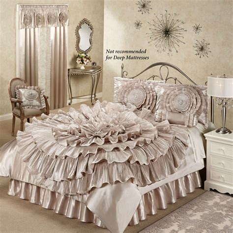 bedroom comforter sets chagne bedroom home gt ruffled chagne rosette comforter bed set home decor